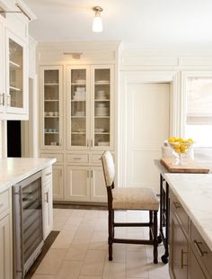Courtney Hill Interiors - kitchens - floor to ceiling kitchen cabinets, floor to ceiling ivory kitchen cabinets, glass-front china cabinet, ...