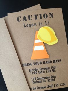 Construction Birthday Party Invitations Custom Made on Kraft Paper, Set of 8 Invites with Construction Hard Hat & Cone, Construction Party, First Birthday Construction Truck #constructionparty #constructionbirthday