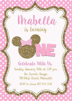 Bebé Minnie Mouse primera invitación fiesta por PrettyPaperPixels