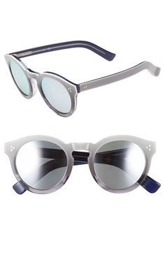 Free shipping and returns on Illesteva 'Leonard II' 50mm Round Mirrored Sunglasses at Nordstrom.com. A rounded, retro-inspired silhouette featuring a keyhole bridge defines striking Italian-crafted sunglasses with mirrored lenses.
