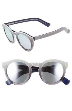 Women's Illesteva 'Leonard II' 50mm Round Mirrored Sunglasses - Grey Ombre/ Silver Mirror