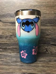 Your place to buy and sell all things handmade Lilo And Stich, Lilo And Stitch Quotes, Vinyl Tumblers, Custom Tumblers, Tumblr Cup, Glitter Cups, Glitter Tumblers, Crochet Cup Cozy, Disney Cups