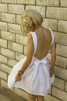 backless white dress...
