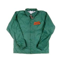 """For All To Envy """"Menthol"""" Coaches Jacket ($60) ❤ liked on Polyvore featuring outerwear, jackets, tops, coats & jackets, green jacket and coach jacket"""