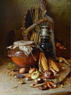 Натюрморт с кукурузой 60x80
