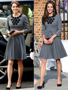 ORLA KIELY DRESS: After wearing this gray pleated dress in 2012 with her signature blowout, Kate pulled her hair into a ponytail for its October 2015 appearance – the better to show off its pretty appliquéd neckline.