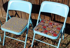 punk projects: Restyled Folding Chairs DIY.  Gives me an idea to paint mine red & use my Coca Cola material for recovering the cushions!!!