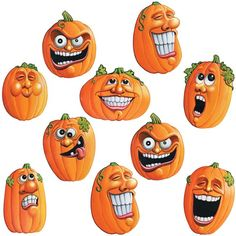 Add our Mini Wacky J-O-L Cutouts to your Halloween decorations! Features colorful Jack-o-Lantern cutouts with funny and spooky faces. Measures Includes 10 cutouts per package. Retro Halloween, Zombie Halloween Party, Halloween Rocks, Halloween Party Decor, Halloween Pumpkins, Halloween Crafts, Halloween Stuff, Halloween Ideas, Halloween Costumes
