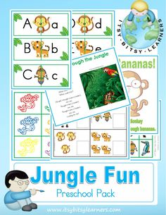 Jungle Fun Preschool Pack could also be used in the Zoo theme week. Letter of the week: J is for Jungle! Jungle Preschool Themes, Jungle Activities, Preschool Jungle, Preschool Literacy, Preschool Printables, Preschool Lessons, Preschool Activities, Free Preschool, Preschool Classroom