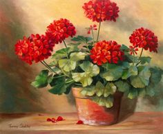 Red Geranium Paintings   the art of theresa shelton home paintings galleries reproductions ...