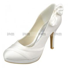 Platform Colse Toe Stiletto Heel White Satin With Bowknot Bridal Shoes