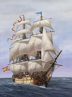 EL NAVÍO DE LÍNEA.Los navíos españoles de finales del siglo XVIII eran buques grandes, sólidos y marineros; bien construidos a base de maderas de gran calidad como el roble o la caoba. Ocean At Night, Old Sailing Ships, Make A Boat, Ship Paintings, Ship Of The Line, Boat Kits, Naval History, Marine Boat, Tug Boats