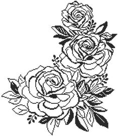 Items similar to Black and White Roses. PDF File on Etsy Russian Cross Stitch, Cross Stitch Rose, Cross Stitch Flowers, Crochet Stitches Patterns, Embroidery Stitches, Embroidery Patterns, Knitting Stitches, Black And White Roses, Wedding Cross Stitch Patterns