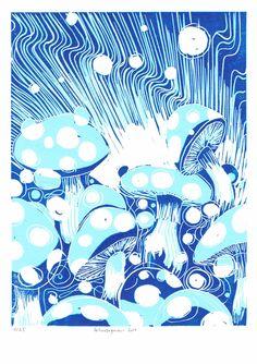 spuntare come funghi blau weiss Linoldruck auf 300 gr. säurefreiem Karton, 2014, Auflage: 25 Stück von mingoniaprintshop auf Etsy