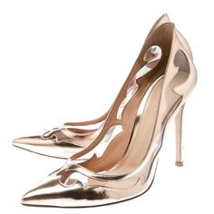3fc1a3a4a59 Gianvito Rossi Rose Gold Leather and PVC Plexi Cut Out Detail Pointed Toe  Pumps Size 39