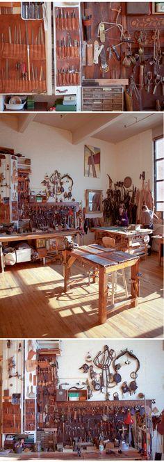 Red Hook studio, Brooklyn workshop - designer Jason Ross ( http://www.abchome.com/reveal/modern-relics-the-work-of-jason-ross/ )
