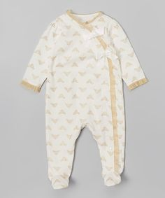 Look at this Vitamins Baby Ivory Glitter Crowns Footie - Infant on #zulily today!