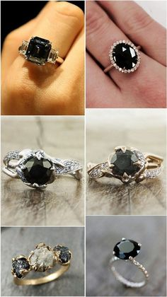 black + white wedding inspiration | unique engagement rings | black diamond engagement rings | via: deer pearl flowers |