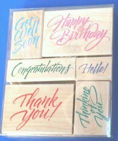 Basic Greetings Rubber Stamp Set of 6 Stamping Craft Cardmaking Scrapbooking NIB #HeroArts #Background
