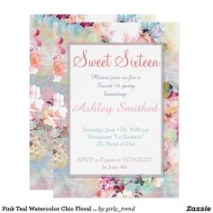 Pink Teal Watercolor Chic Floral Pattern Sweet 16 Card Pink Teal Watercolor Chic Floral Pattern Sweet 16 birthday invitation. Celebrate and invite with friends to your sweet sixteen birthday with this girly, elegant and chic floral pattern sweet sixteen invitation featuring beautiful and preppy vintage victorian roses and peonies flowers in light pink and orchid purple on a modern and abstract pink and teal pastel watercolor strokes pattern . Customize the birthday invitation with your own…