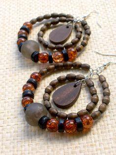 African Beaded Big Hoop Earrings  Wood & Glass  by stoneandbone, $25.95