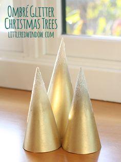 Ombre Glitter Christmas Trees   littleredwindow.com
