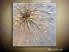 Abstract Textured Metallic Flower Painting.Palette Knife.Gold Silver  by Nata S