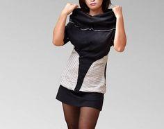 Robe tunique en coton jersey noir manches courtes large