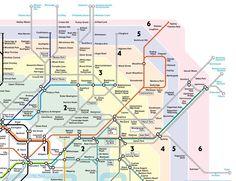 Mappa Londra - Cartina Metropolitana di Londra Zona 1-6