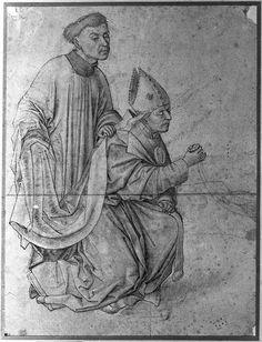 Rogier van der Weyden, Bishop kneeling, in profile, swinging a censer, accompanied by a clerk, c. 1460s