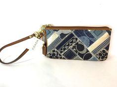 NWT Coach Patchwork Wristlet Purse Wallet 41460 Purse Hand Bag Leather Indigo #Coach #Clutch
