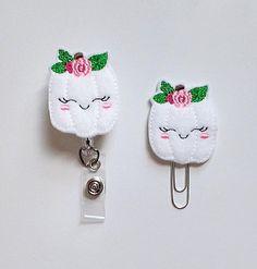 WHITE Pumpkin Feltie Paper Clip   ID Badge Reel   Felt Badge   Badge Holder   Lanyard   Planner Accessories   Fall Planner Clip   Autumn