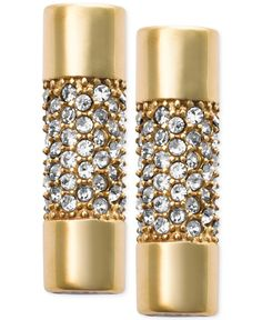 Michael Kors Gold-Tone Pave Crystal Cylindrical Stud Earrings
