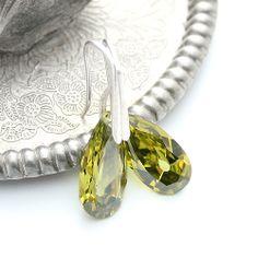 Olivine classic - silver and olivine cubic zirconia drops earrings. Retro elegance.
