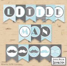 Little Man Birthday or Baby Shower Banner Mustache Party Printables Grey Blue DIY Printable INSTANT DOWNLOAD by JannaSalakDesigns on Etsy