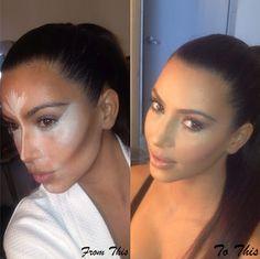 Kim Kardashian make up tips. I dislike her but her makeup always looks bomb.