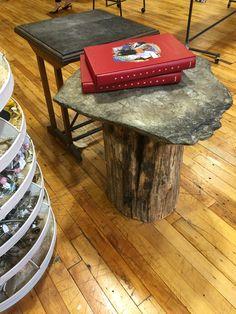 Stump & slate porch table