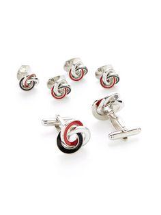 Interlocking Ring Cufflinks & Studs by Link Up at Gilt