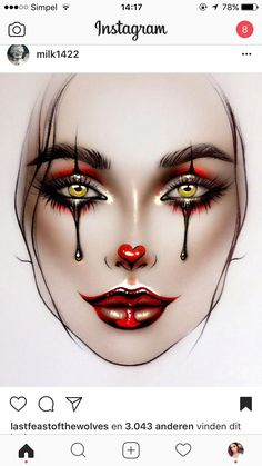 Clown Makeup, Costume Makeup, Eye Makeup, Hair Makeup, Makeup Face Charts, Mac Face Charts, Make Up Designs, Bridal Makeup Looks, Wedding Makeup
