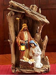 Three Kings Gifts The Original Gifts of Christmas Driftwood Creche Holy Family LED Light-up 14 x Resin Stone Nativity Table Top Figurine Christmas Nativity Scene, Christmas Figurines, Diy Christmas Tree, Christmas Angels, Monastery Icons, Nativity Stable, Christmas Icons, Original Gifts, Holy Family