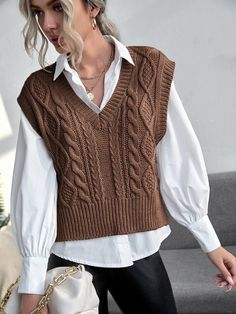 Sweater Vest Outfit, Vest Outfits, Cute Casual Outfits, Fashion Outfits, Ladies Cardigan Knitting Patterns, Knit Vest Pattern, Korean Outfits, Cable Knit Sweaters, Knit Fashion