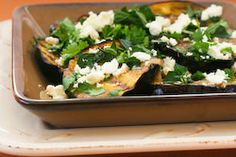 Kalyn's Kitchen®: Grilled Eggplant Recipe with Garlic-Cumin Vinaigrette, Feta, and Two Herbs