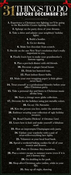 31 Things To Do Before December 31st!