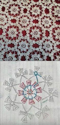 Discover thousands of images about Sin encabezamiento - Crochet Stitches Chart, Crochet Motif Patterns, Crochet Diagram, Crochet Squares, Crochet Designs, Knitting Patterns, Art Au Crochet, Crochet Crafts, Crochet Projects