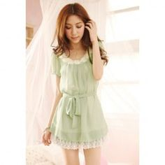 $7.54 Round Neckline Casual Stylish Candy Color Pearl and Flower Short Sleeve Chiffon Dress For Women