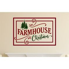 The Holiday Aisle Farmhouse Christmas Vinyl Wall Decal Size: Christmas Tree Vinyl, Christmas Wall Art, Name Wall Decals, Wall Stickers, Vinyl Decals, Farmhouse Mirrors, Mirror Decal, Silhouette Curio, Wood Pallet Signs