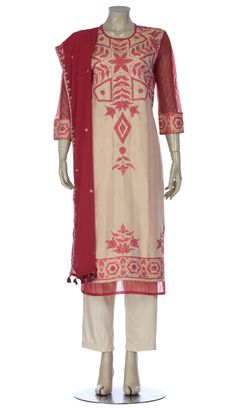 Beige and Red Embroidered and Silk and Muslin Shalwar Kameez Set