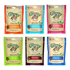 Greenies Dental Cat Treats Variety Pack – 6 Flavors (Tempting Tuna, Savory Salmon, Ocean Fish, Succulent Beef, Oven Roasted Chicken, and Catnip Flavor) – 2.5 Ounces Each (6 Total Pouches)
