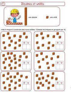 Découverte dizaines et unités                                                                                                                                                     Plus Daily Math, Math 2, First Grade Math, Math Games, Math Place Value, Place Values, French Language Lessons, Montessori Math, Primary Maths