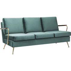 Kare Design Bank Sofa Gamble 3-Zits - Fluweel Stof - Blauw